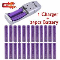24pcs AAA Battery Bulk Rechargeable Battery NI-MH 1800mAh 1.2V Yel + USB Charger