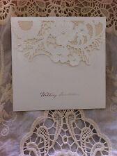 Flower Lace Wedding Invitations / TU061 - Qty 17 -  Bonus 16 Gold Seals