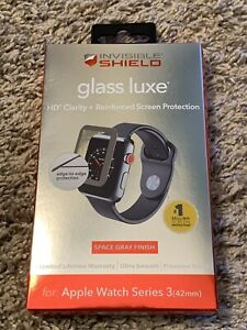 NWT ZAGG InvisibleShield Glass Luxe Apple Watch Series 3 42mm Space Gray Finish