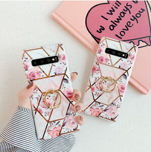 For Samsung A71 A50 S20 S21+ Note 20 Luxury Marble Ring Holder Phone Case Cover