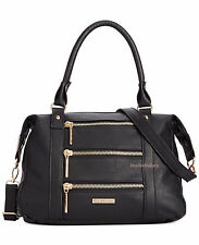 $78 Rampage Triple Zip Black Faux-Leather Satchel Shoulder Bag
