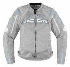 New Icon Contra Womens Motorcycle Street Textile Jacket, Silver, XL