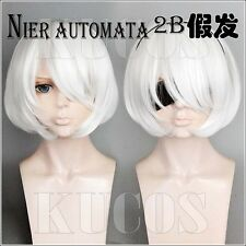 NieR:Automata 2B Game Anime Short White Costume Cosplay Wig +Free Wig Cap
