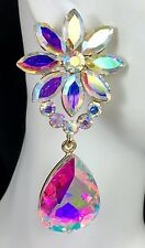 """Beautiful! 2.5"""" AB Gold Glam Crystal Earrings, Drag Queen, Prom, Bridal, Pageant"""