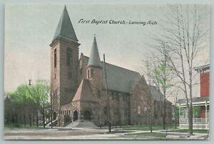 Lansing Michigan~First Baptist Church Building~Vintage Postcard