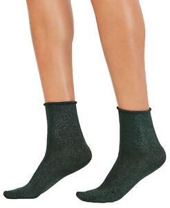 nWT HUE Womens Metallic Roll-Top Shortie Socks. U19097