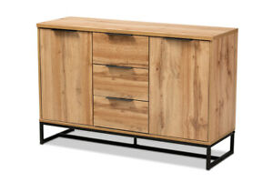 Baxton Studio Reid Modern and Contemporary Industrial Oak Finished Wood and B...