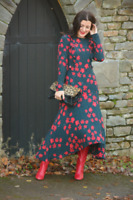 H&M Dark Green-Blue Red Floral Flowers Long Midi Dress Size 14-16 EU 42 US 12