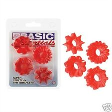 Red Male Enhancer Rings 4Pk Stretchy