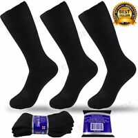 3 6 9 Pairs Men Women Black Diabetic Crew Circulatory Health Cotton Socks 9 - 13