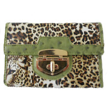 Leopard Print Long Purse Trimmed In Green SPECIAL OFFER