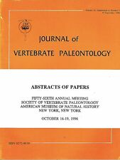 DGLib 1189: Society of Vertebrate Paleontology Abstracts 1996 SVP annual meeting