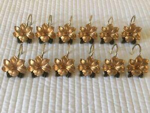 Gold Floral Flower Hand-Painted Resin Vintage Shower Curtain Hooks Set of 12