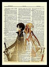 Sword Art Online Kirito Asuna Anime Dictionary Art Print Poster Picture SAO