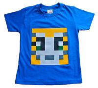 Boys Girls StampyLongNose Mr Stampy You Tube T Shirt BLUE PIXEL 7 TO 12 Years