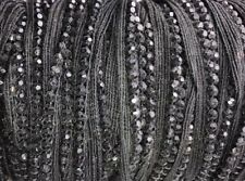 5 Yard Black Faceted Beads String vintage Sew-in To Seam trim