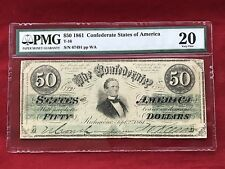 "T-16 1861 $50 CSA Confederate Note ""Jefferson Davis"" *PMG 20 Very Fine*"