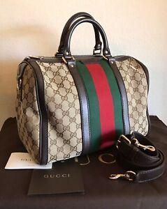 Gucci Large GG Monogram Boston Web Stripe Handbag Brown Red Green 2 Way Tote Bag
