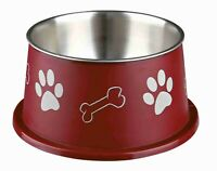 25247 Stainless Steel Spaniel Dog Bowl RED - For Dogs With Long Ears