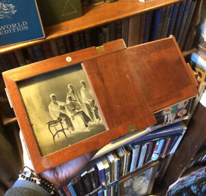 Antique Glass Plate Negative Photograph in Wooden Case : Musical Band