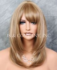 Stunning Beauty Straight Wig Heat Safe w. Bangs GOLDEN Blonde mix LP 14-22