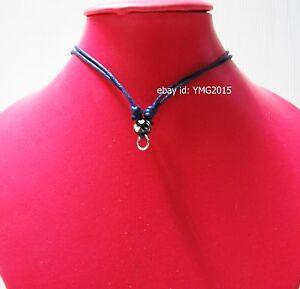 """ 3 pcs.Necklace for Amulet Pendant 1 hook "" Adjustable Handmade DARK-BLUE Rope"