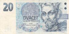 1994 Czech Republic 20 Korun Note, Pick 10a.