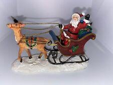 St. Nicholas Square Village Collection Santa Claus Sleigh Reindeer Figure