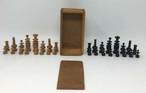 Antique French Chess Hand Turned Regency Set 32 Pieces Original Box Full Set
