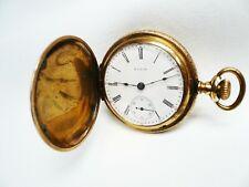 Hunter Case Pocket Watch Size 18 Antique Elgin 7 Jewel Manual Wind