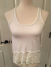 Abercrombie Kids Girls White Sleeveless Top With Lace Details Size Medium