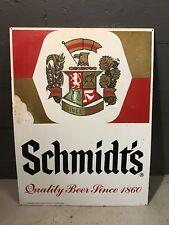 """Large Metal SCHMIDT'S Schmidt BEER ALE Advertising Sign 1960s/ 1970s? 24X32"""""""