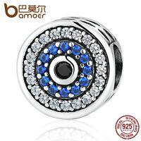 Bamoer European 925 Sterling Silver Blue CZ Evil eyes Charm fit bracelet jewelry