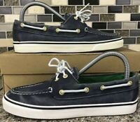 Sperry Top Sider Blue White Canvas Boat Shoes Casual Loafers 2-Eye Womens 7 M