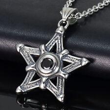 Edelstahl Halskette Kette mit 3D Anhänger Design Fünfstern Stern mit Stein NEU