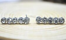 Silver Tone Round Clear Crystal Bar Stick Stud Earrings Gift