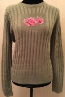 Hasting & Smith Studio Womens Sweater Size Large Green Cable Knit Embroidered