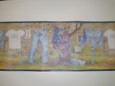 All American Denim Laundry Clothesline Wallpaper Border SB10169B