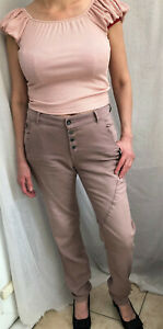 Ladies Easy-fit Esprit Distressed 5-pocket Chinos Trousers Mauve Top Stitch Pant
