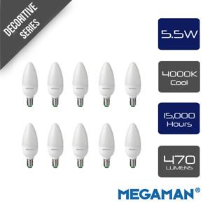 Pack of 10 Megaman 143350 LED Candle Light Bulbs Opal E14 SES 4000K Cool White -