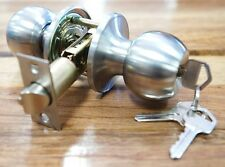 Front Door Lock Entrance Set Round Knob Lockset Satin Stainless Steel w/ 3 Keys