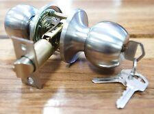 Front Door Lock Entrance Set Round Knob Lockset Satin Stainless Steel W/ 3 Keys