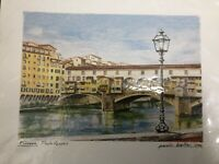 Firenze Ponte Vecchio Print by Paolo Bellini 2004. New. Sealed. Florence, Italy