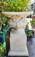 Outdoor Garden Patio Michele Tall Planter Pot Urn Pedestal Round Bowl Sandstone