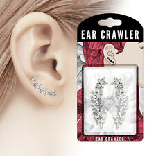 PAIR OF PRETTY EAR CLIMBER  WITH ALTERNATING STAR AND CLEAR CRYSTAL CZ