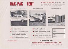 Vintage Brochure - Rak-Pak Tent for Cars, Vans & Station Wagons, Caravan Annexe