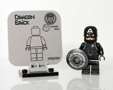**New** DRAGON BRICK Custom Captain America Lego Minifigure