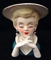 Vtg Rubens Head Vase Blond Hat Crossed Fingers Green Dress 494 Pearls No Chips