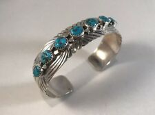 Navajo Handmade Intricate Turquoise Design Sterling Silver Cuff Bracelet