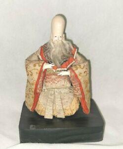 Japanese Hina figurine Fukurokujo deity ~ Early to Mid 1900's Silk Garb